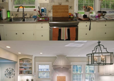 Before and after front kitchen